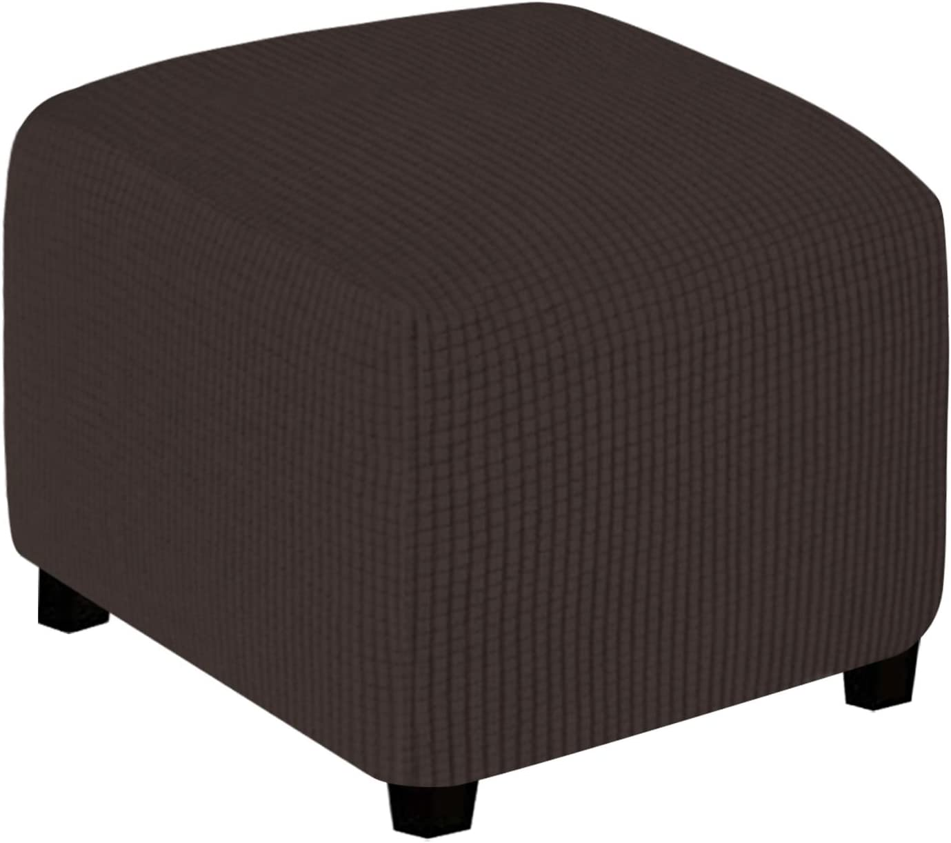 Easy-Going Stretch Ottoman Cover Folding Storage Stool Furniture Protector Soft Rectangle slipcover with Elastic Bottom (X-Small,Chocolate)