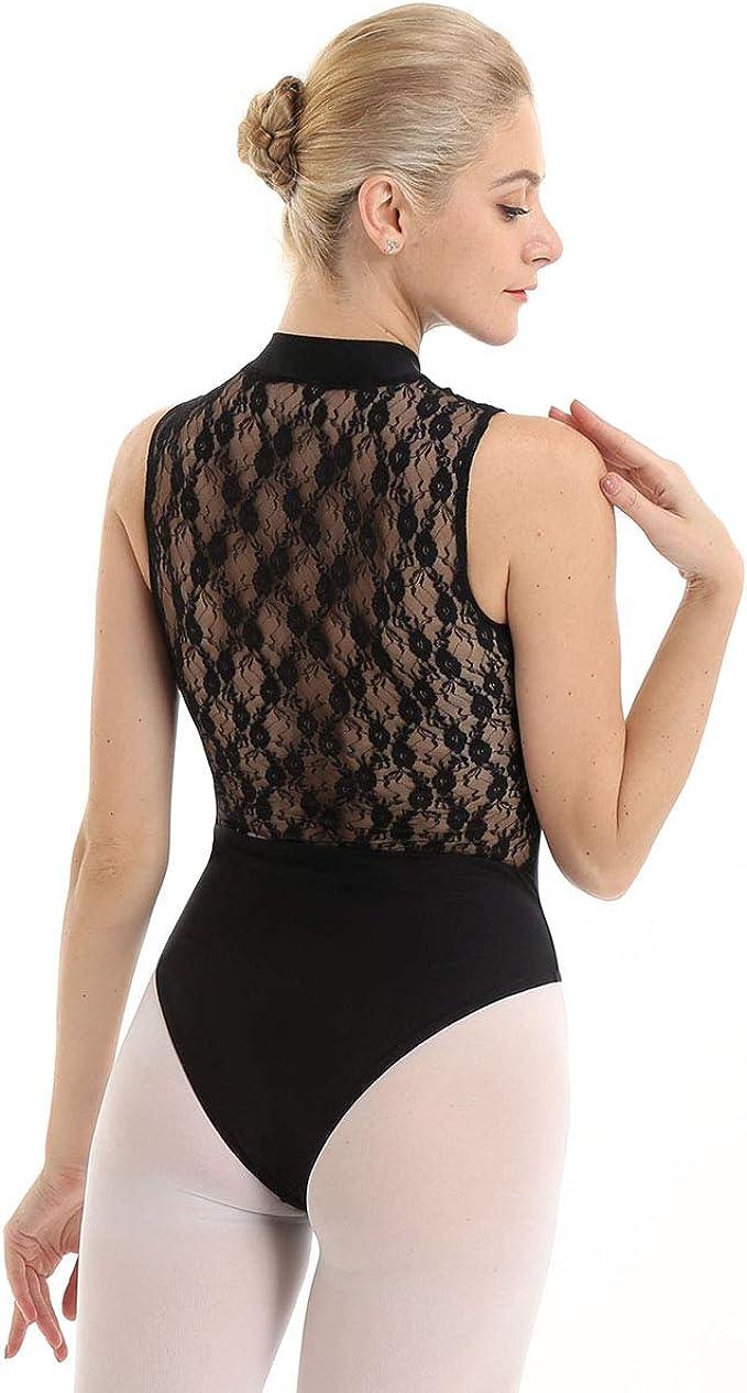 YOOJIA Adult Women Sleeveless Halter Neck Ballet Dance Leotard Bodysuit Gymnastics Dancewear