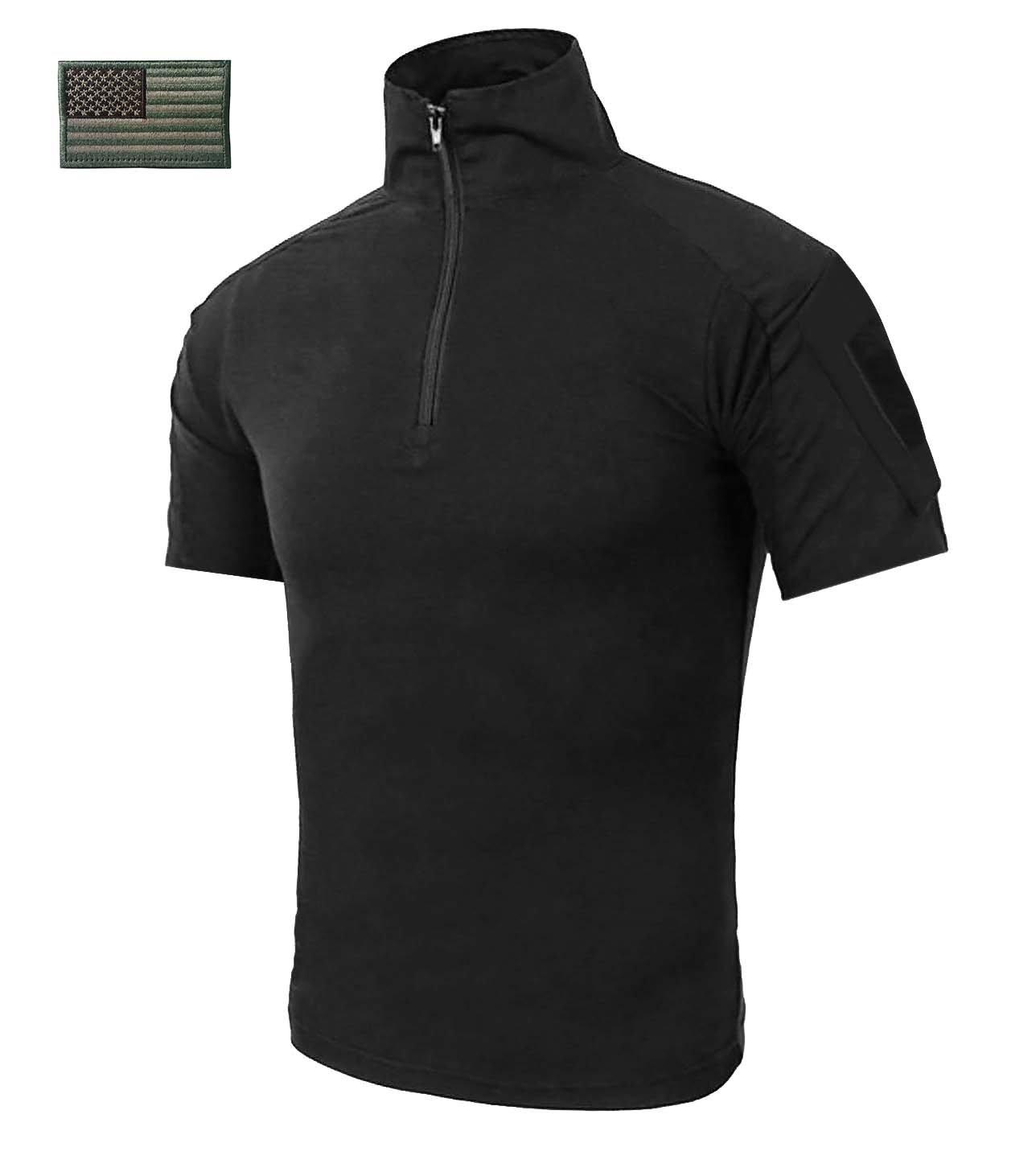 CRYSULLY Men's Summer Military Tactical Breathable Combat Sport Slim Fit Outdoor Shirt Atacs Combat Shirt Black