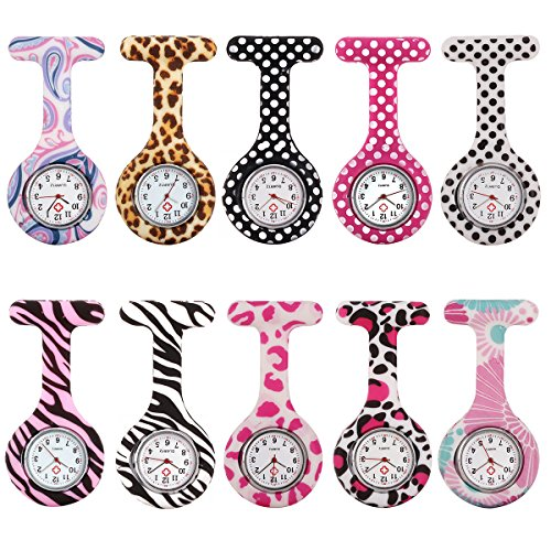 10pcs Floral Nurse Clip-on Fob Brooch Pocket Watch Lapel Watch for Women Girl #2