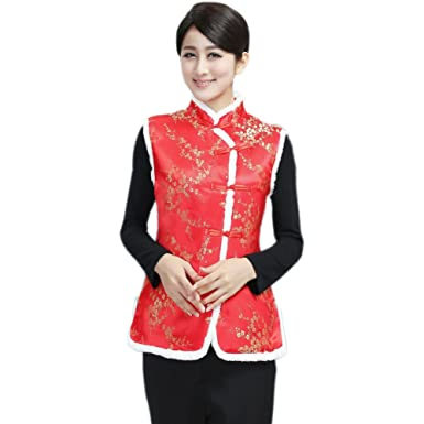 4fe7b2bb7 Amazon.com: COCONEEN Womens Brocade Chinese Tang Suit Winter Vests: Clothing