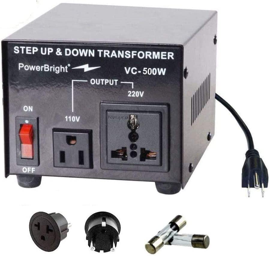 PowerBright Step Up & Down Transformer, Power ON/Off Switch, Can be Used in 110 Volt Countries and 220 Volt Countries, Convert from 220-240 Volt to 110-120 Volt AND from 110-120 Volt to 220-240 (500W): Home Audio & Theater