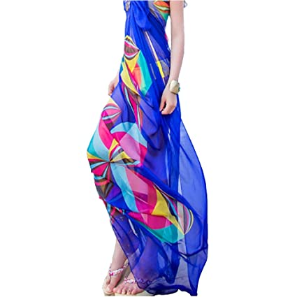 7298ed10db8d0 Amazon.com  Women Sexy Chiffon Wrap Pareo Dress Sarong Beach Swimwear  Bikini Cover Up Scarf (Blue)  Home   Kitchen