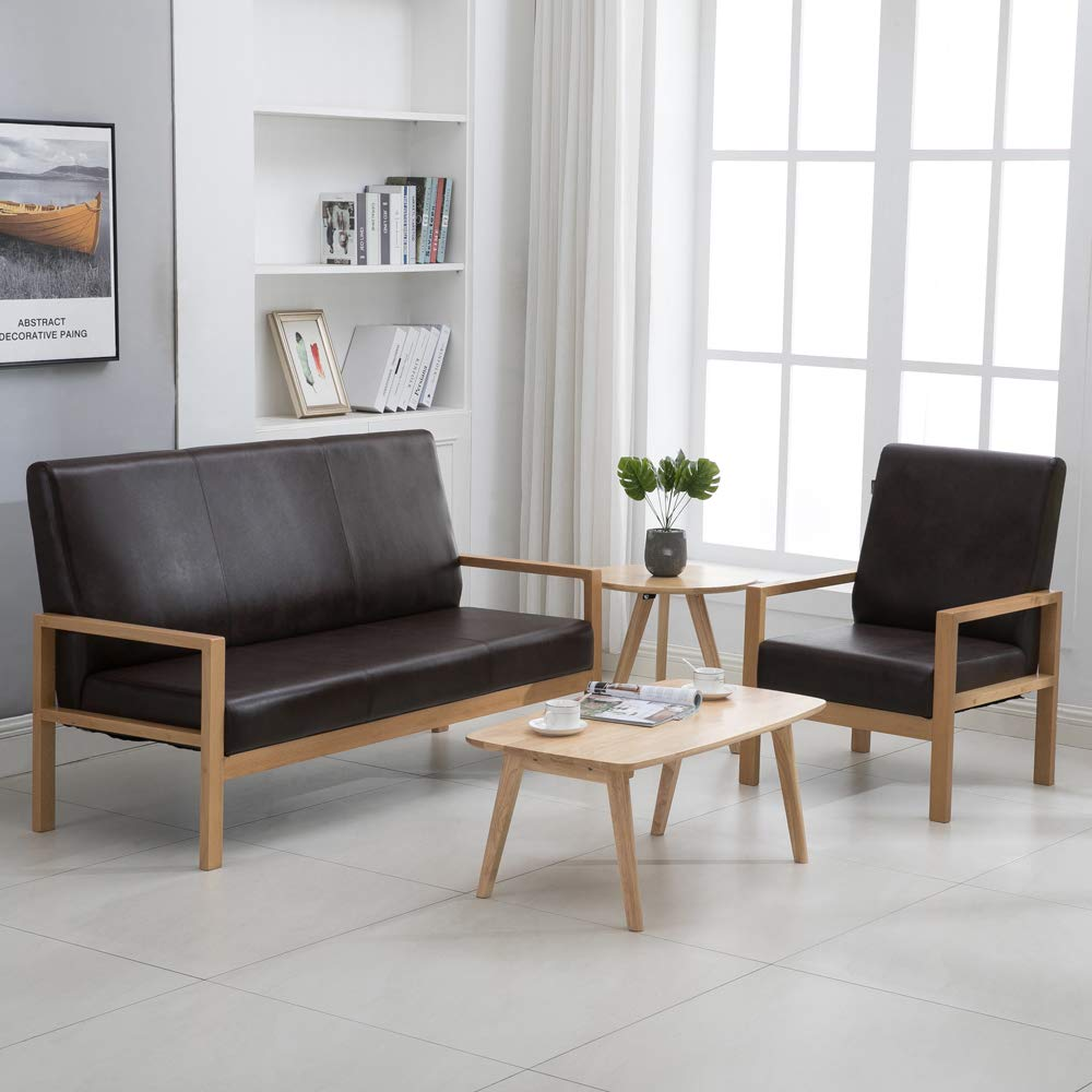 Amazon.com: Krei Hejmo - Sillón de madera para sofá (piel de ...