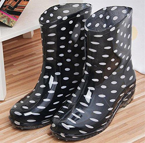 Casual High Top Rain Women Antiskid Waterproof Dots SHOCK ACE Rain Footwear Black Boots YZAppq