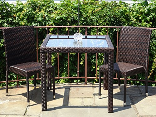 3 Pc Patio Resin Outdoor Wicker Dining Set Square Table 31,5 inch w/Glass and 2 Side Chairs.Dark Brown Color (Resin Wicker Dining Table compare prices)