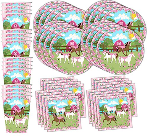 Lovely Pink Horse Birthday Party Supplies Set Plates Napkins Cups Tableware Kit for 16 by Birthday Galore