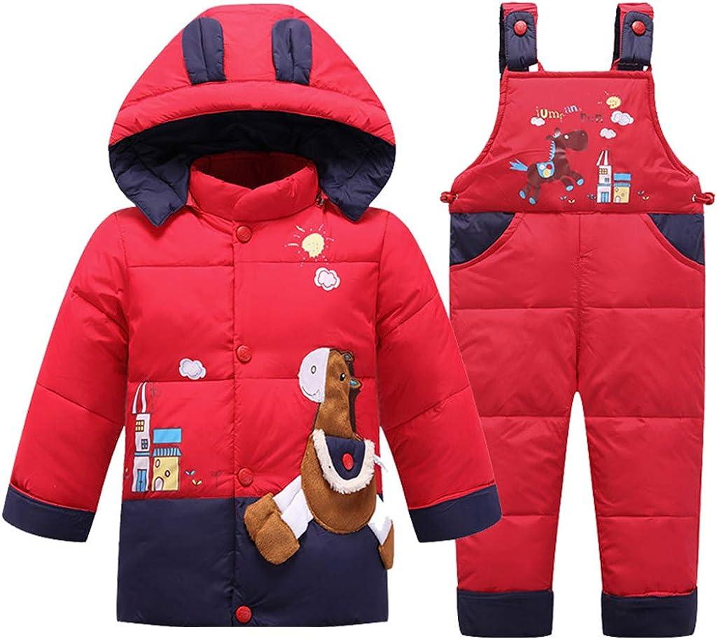 2 Piezas Bebé Traje de Nieve Chaqueta de Plumas con Capucha con Pantalones de Peto de Nieve Invierno Traje de Esquiar Unisexo Conjunto de Ropa