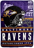 """NFL Baltimore Ravens Stacked Silk Touch Throw, 60"""" x 80"""""""