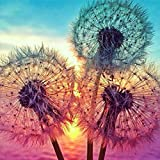 Diamond Painting Kits for Adults Kids, 5D DIY Colored Dandelion Diamond Art Accessories with Round Full Drill Dotz for Home Wall Decor - 11.8×11.8Inches