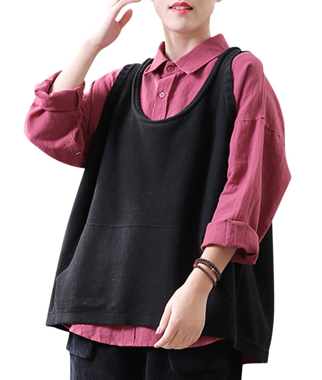 YESNO LD7 Women Casual Cute Sweater Vest Loose Swing Hemline/Pockets (L, LD7 Black) by YESNO