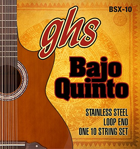 GHS Strings BSX-10 STAINLESS STEEL BAJO QUINTO Strings, Loop End (Loop Core Steel)