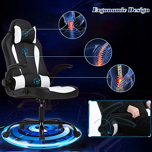 PC Gaming Chair Ergonomic Office Chair Desk Chair with Lumbar Support Flip Up Arms Adjustable Headrest High Back PU Leather Racing Rolling Swivel Executive Computer Chair for Women Adults Girls,White