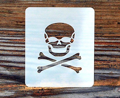 (Skull and Crossbones Design Face Painting Stencil 7cm x 6cm 190micron Washable Reusable Mylar)