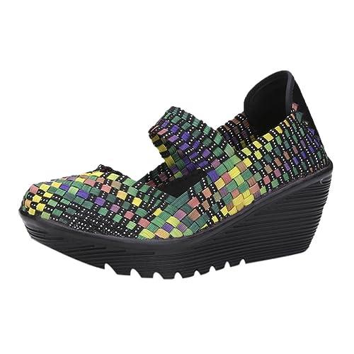 Mocasines Zapatos no Tejidos de Mujer, Calzado Deportivo Transpirable de otoño elástico Alpargatas Merceditas Sandalias: Amazon.es: Zapatos y complementos