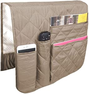 SS&LL SofaChair Armrest Organizer, Fits for Phone, Book, Magazines, TV Remote Control Beige