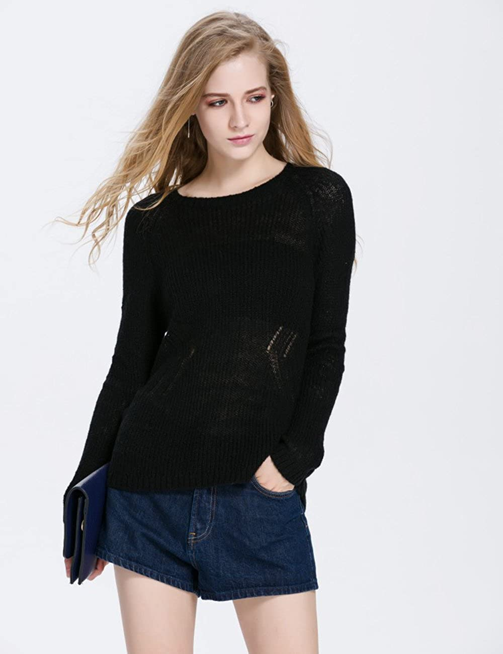 Syplnitu Womens Woolen Sweater Fashion Round Neck With Bowknots Design