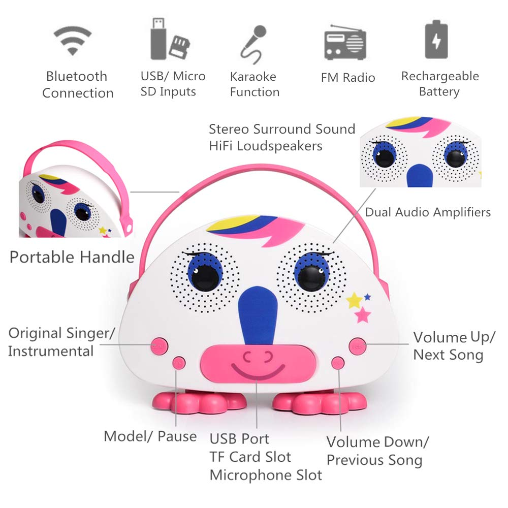 OceanEC Kids Bluetooth Karaoke Machine with Microphone, Rechargeable Children's Wireless Loudspeaker Portable Cartoon Karaoke Music MP3 Player Toy with Microphone for Party Gift (Pink) by OceanEC (Image #3)