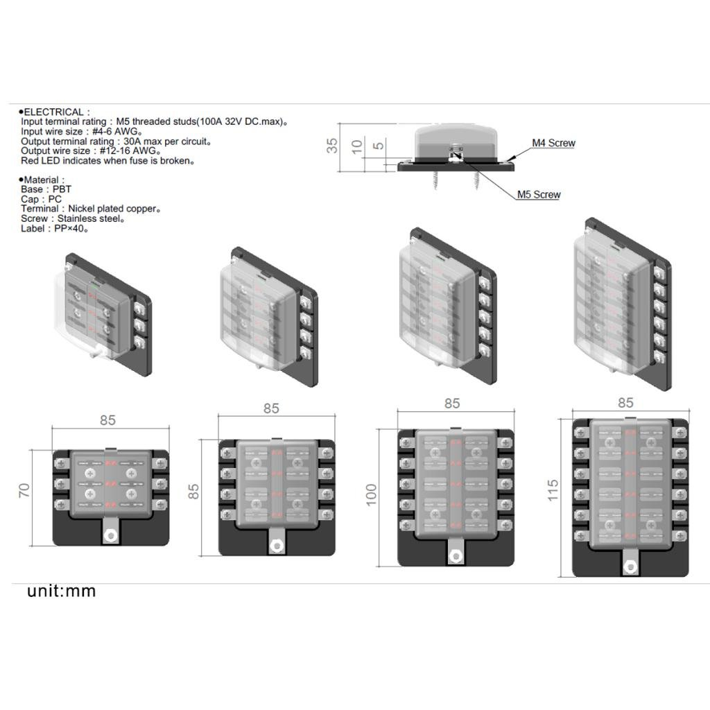 gazechimp Portafusibles De 12 V/ías Para Autom/óvil Con Indicador De LED De Terminales De Anillo De Fusible