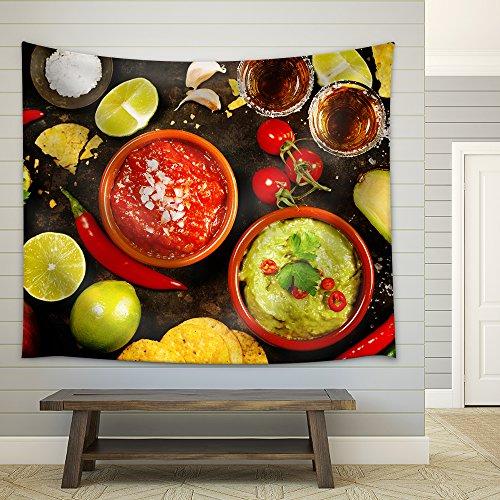 Mexican Food Concept: Tortilla Chips Guacamole Salsa Tequila Shots and Fresh Ingredients Fabric Wall Tapestry