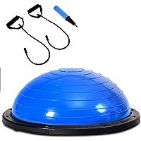 COSTWAY Halve Bal Balans, ø60cm Balans trainer met weerstandsbanden en pomp, voor Yoga Fitness, stabiliteitstraining…