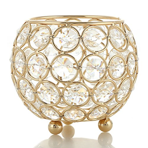 Christmas Tablescape Decor - Gold Crystal Hurricane Assorted Size Candle Holders