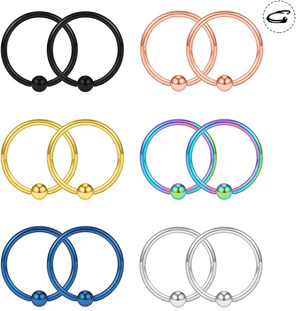 SCERRING 12PCS 18G Nose Hoop Lip Eyebrow Tongue Helix Tragus Cartilage Septum Piercing Ring