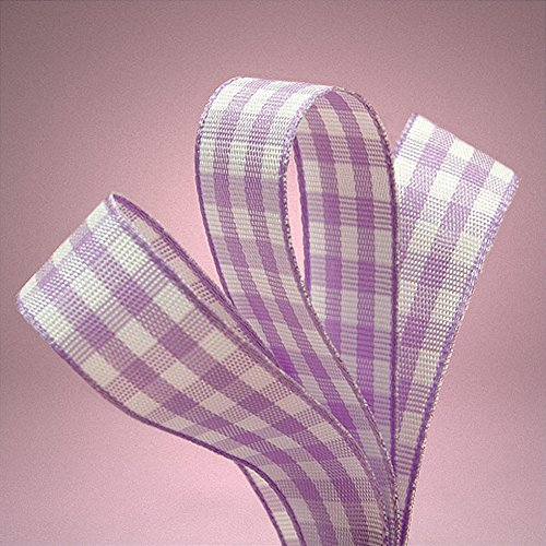 3/8 in. Wide Purple White Gingham Ribbon - 25 Yards