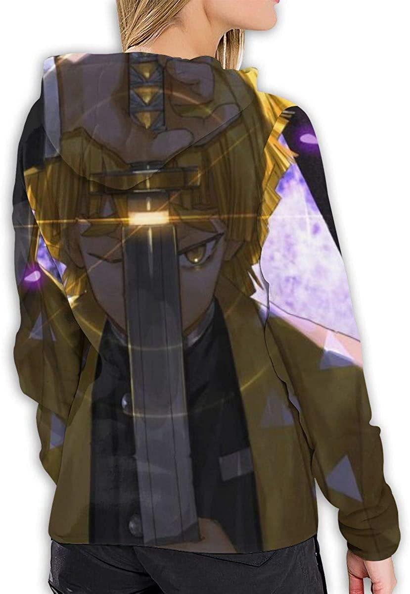 Vdaras Damen Kapuzen-Sweatshirt Zenitsu Demon Slayer Kimetsu No Yaiba Hoodies Schwarz