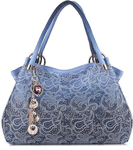 Tinksky Classic Fashion Tote Handbag Leather Shoulder Bag Perfect Large Tote Ls1193 (blue)