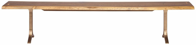 Samara 89-inch Dining Bench in Smoked Oak and Bronze Cast Iron Legs