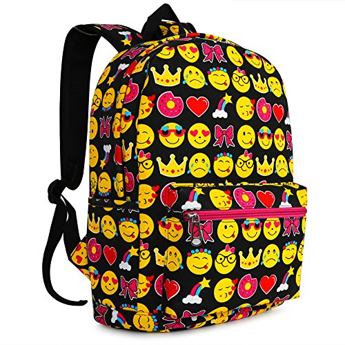 Blue Printing Cute Cool Black Printing Face Rucksack Pattern Smiling Shoulder Backpack Backpack Student Travel Satchel Zicac 2 QQ Kids Canvas Bag School pBqCOwwH