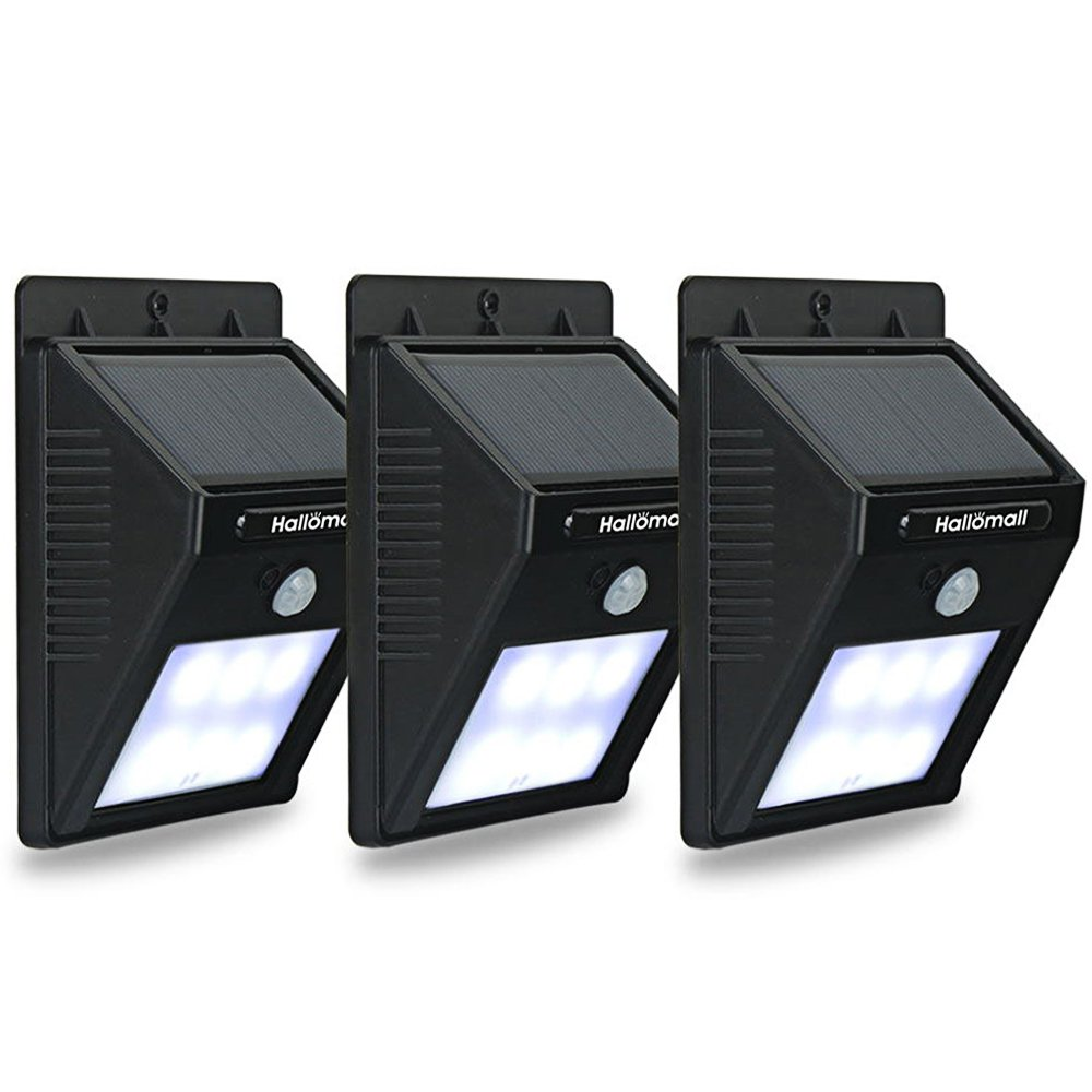 Hallomall outdoor solar wall lights motion sensor detector no hallomall outdoor solar wall lights motion sensor detector no battery required no dim light mode 3 pack amazon mozeypictures Images