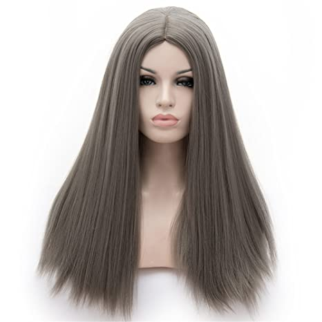 WPQES peluca sintética separada larga del color del solo derecho, peluca del desgaste diario,