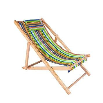 XIAOMEI Plegable Playa Sillas Reclinable,Ligero Madera ...