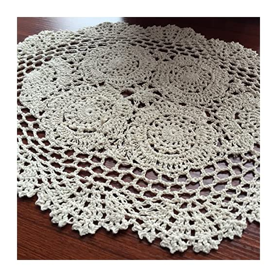 Elesa Miracle 12 X 18 Inch 4pc Handmade Beige Oval Crochet Cotton Lace Table Placemats Doilies Set, Oval, Beige - Packed with 4 pieces in box, it's a good gift choose Material - Cotton, washable Oval shape with elegant floral pattern - Harmonious with cups, glasses, dishes or other tabletop items. - placemats, kitchen-dining-room-table-linens, kitchen-dining-room - 61J6XSMEWpL. SS570  -