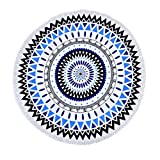 Metrekey Soft Round Beach Towel Quick Dry Circle Picnic Blanket Multi-Purpose 59 inch across Water Absorbent Colorful Yoga Mat With Fringe Color6