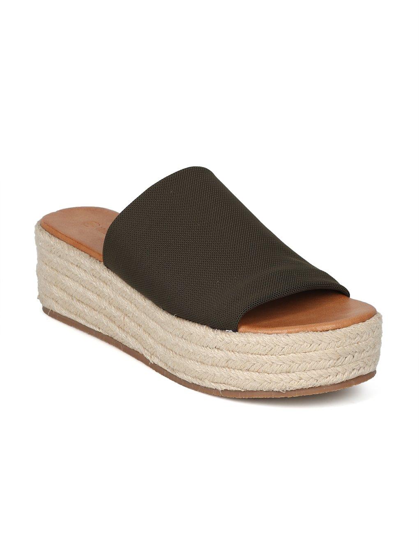 Alrisco Women Metallic Open Toe Espadrille Platform Wedge Slide HI39 B07DTYN9LW 9 B(M) US|Olive Fabric