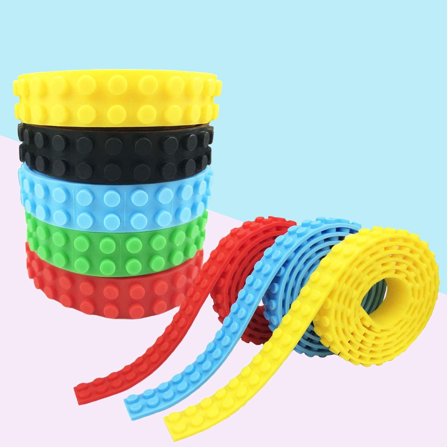 Makers R Us 6 Pack Stackable Building Base Plates 10 x 10 and 5 Self-Adhesive Block Tapes in Variety Color Compatible with All Major Brands