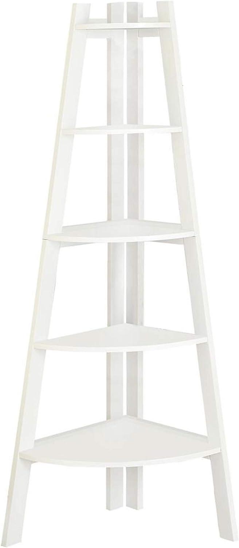 Benjara, White Benzara BM172780 Wooden Ladder Shelf