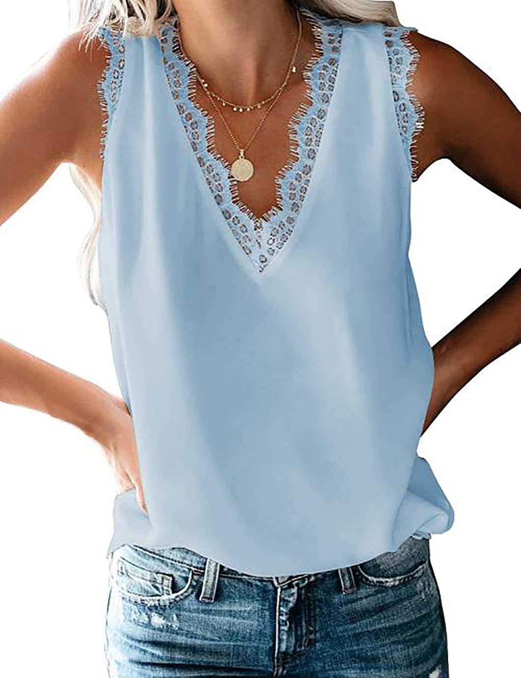 Eddoyee Women Fashion Cami Tank Tops V Neck Sleeveless Blouse Loose Casual Shirts Summer