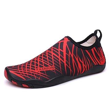 Hombres Mujeres Zapatos de Agua Descalzo Quick Dry Aqua Calcetines de Piel Agujeros de Drenaje de