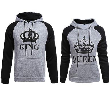 KING QUEEN Pärchen HOODIE Damen Herren Paar Pulli Pullover Sweatshirt Hoodie