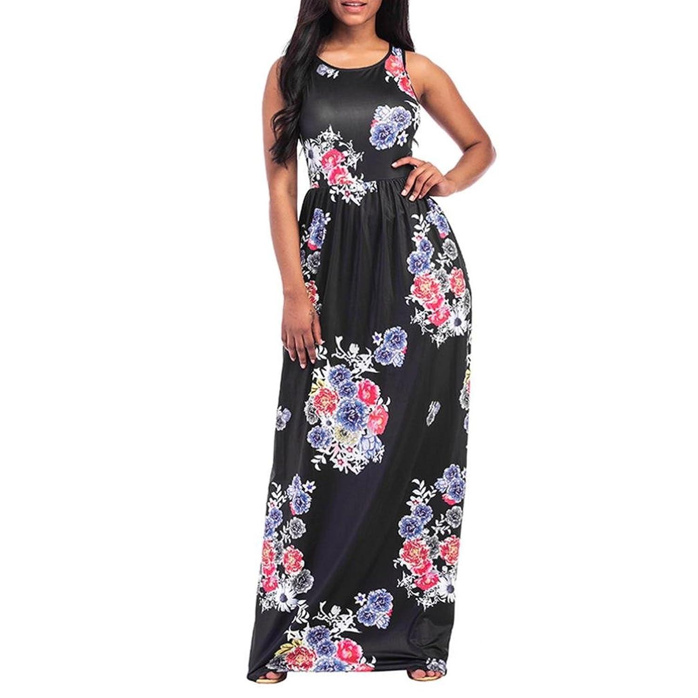Fuibo Damen Kleid, Frauen Blumendruck Rundhals Sleeveless Long Maxi ...