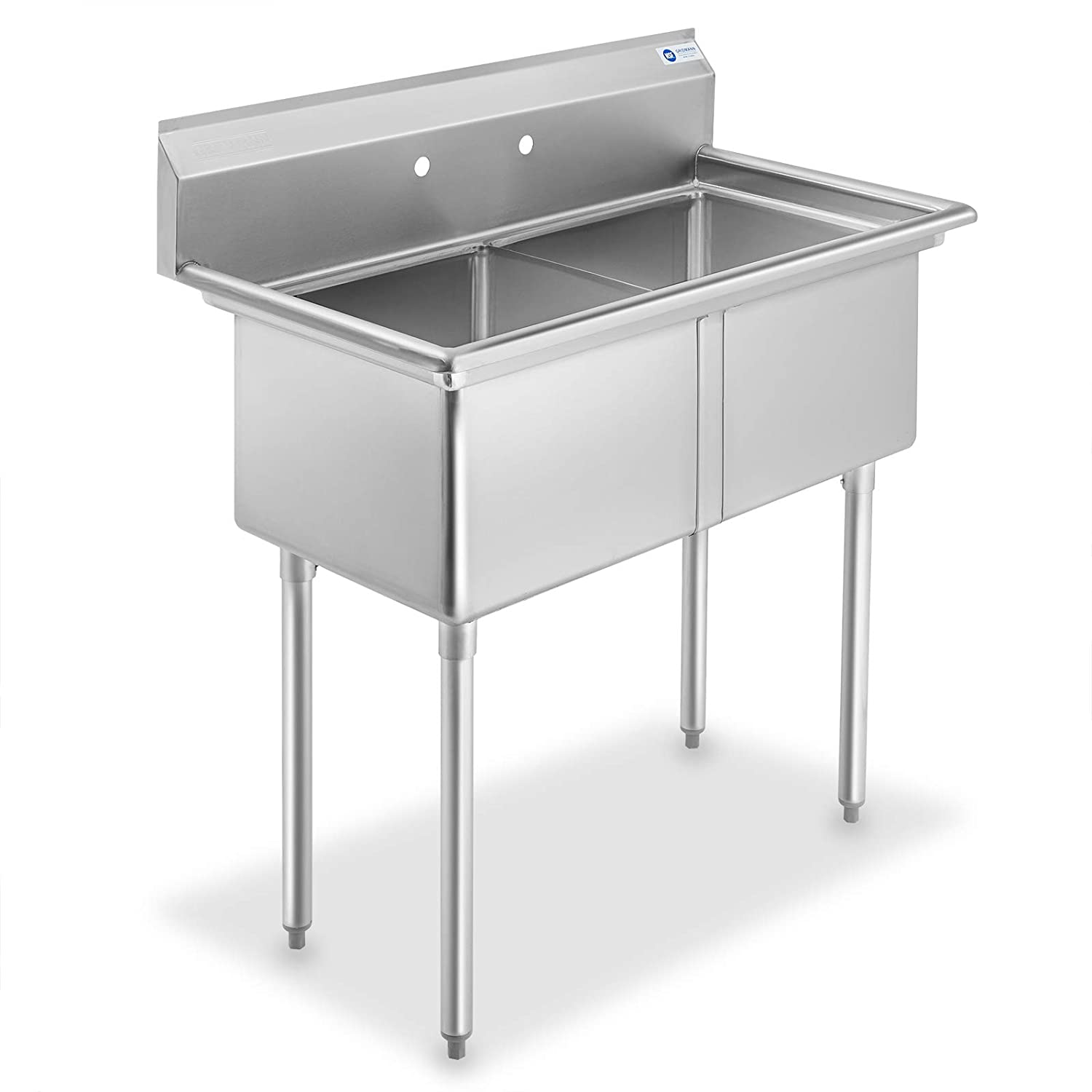 GRIDMANN 2 Compartment NSF Stainless Steel Commercial Kitchen Prep & Utility Sink
