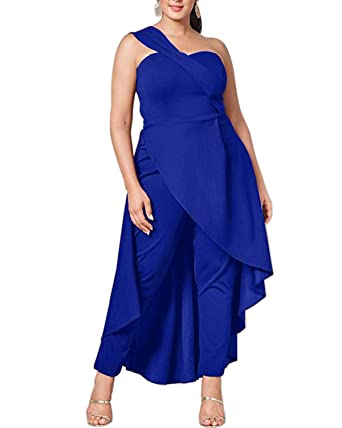 ea45c15083d60 ABYOXI Damen One Shoulder Jumpsuit Lange Sommer Overall Kleider Hohe Taille  Hosenanzug Romper S-2XL