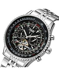 Mens Tourbillon Chrongraph Stainless Steel Hand wind Mechanical Watch