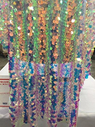Fantastic Hologram big dot sequin mesh fabric 54