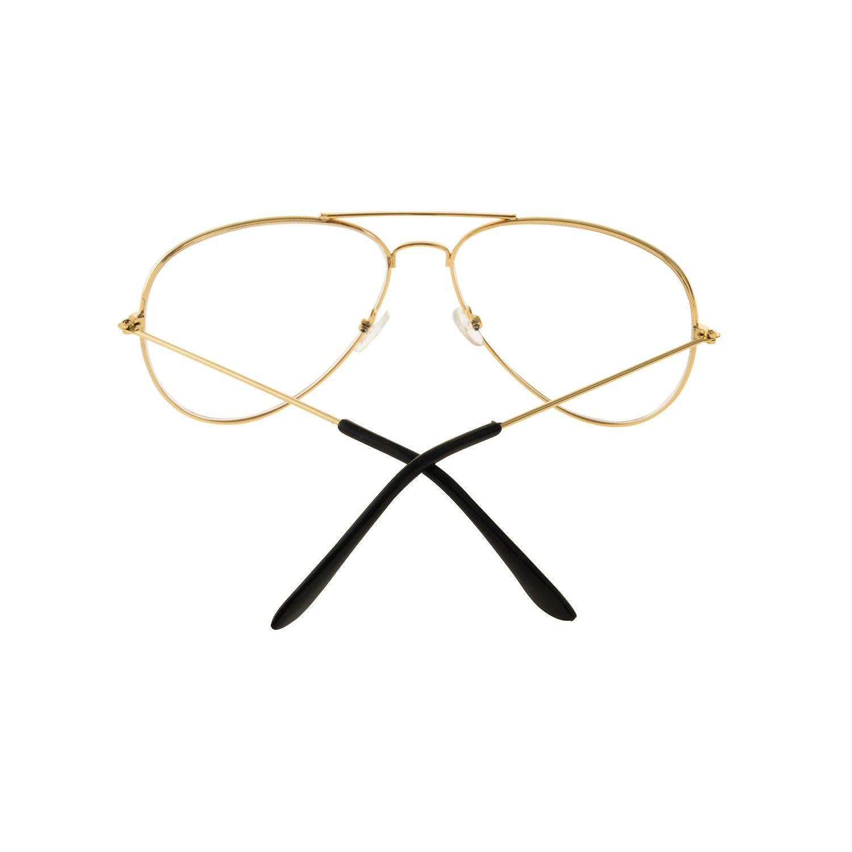 Forepin® Montura Gafas de Aviador (Oro) para Unisex Hombre y Mujer ...