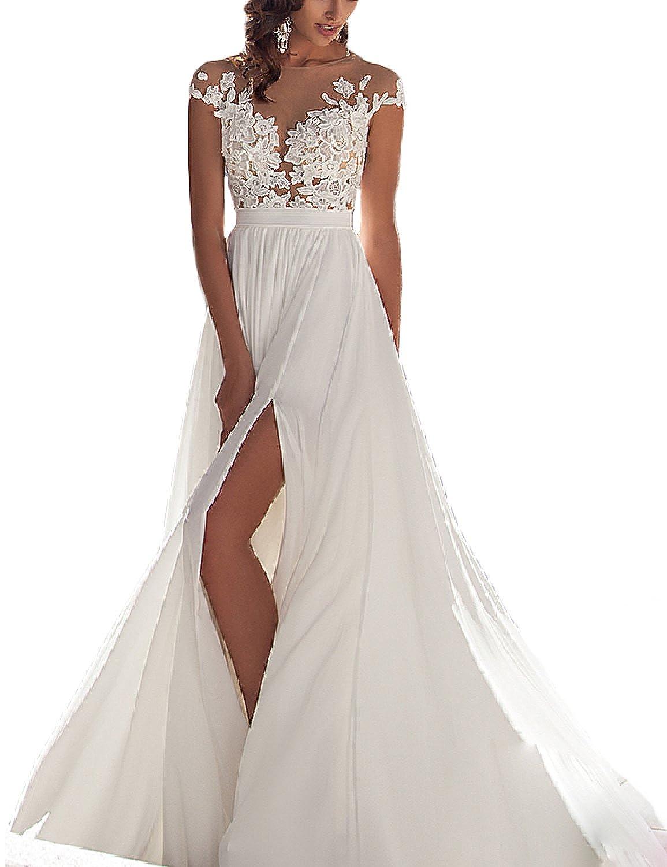 Oyisha Womens Lace Chiffon A Line Beach Wedding Dresses Split Bride